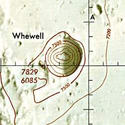 Historischer Kartenauschnitt mit Höhenangaben des Lunar and Planetary Institute